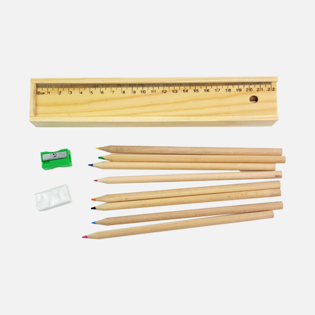 Wooden Colourful Pencil Set in Ruler Box