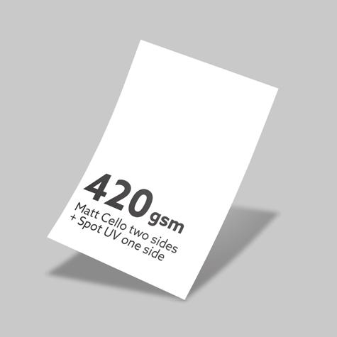 420gsm Matt Cello Two Sides + Spot UV One Side
